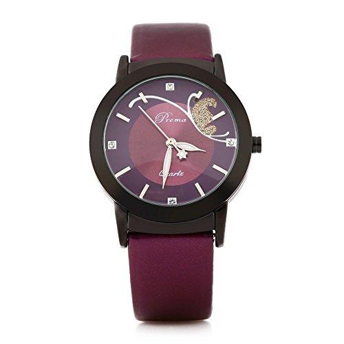 Leopard Shop Prema 3057 Elegante Damen Quarzuhr phosphoreszierende Zeiger Armbanduhr Tough hardlexglas Spiegel schwarz violett