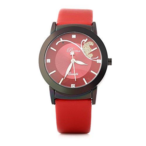 Leopard Shop Prema 3057 Elegante Damen Quarzuhr phosphoreszierende Zeiger Armbanduhr Robust hardlexglas Spiegel rot schwarz