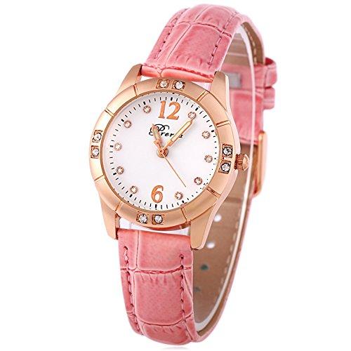 Leopard Shop Prema 3145 weiblich Quarzuhr Luminous Pointer Kuenstliche Diamant Zifferblatt Armbanduhr 30 m Wasser Widerstand Pink Weiss