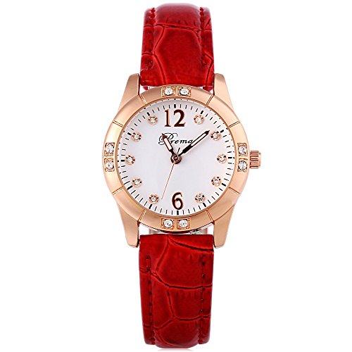 Leopard Shop Prema 3145 weiblich Quarzuhr Luminous Pointer Kuenstliche Diamant Zifferblatt Armbanduhr 30 m Wasser Widerstand rot weiss