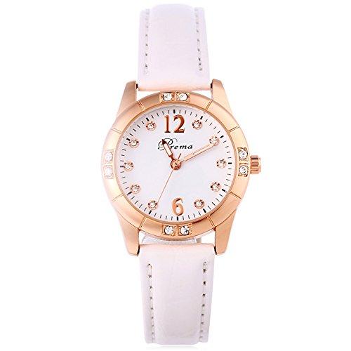 Leopard Shop Prema 3145 weiblich Quarzuhr Luminous Pointer Kuenstliche Diamant Zifferblatt Armbanduhr 30 m Wasser Widerstand weiss