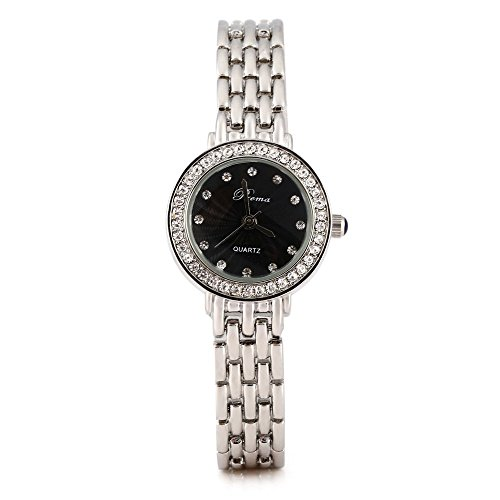 Leopard Shop Prema 5020 Elegant weiblich Quarzuhr hardlexglas Spiegel Silber Schwarz