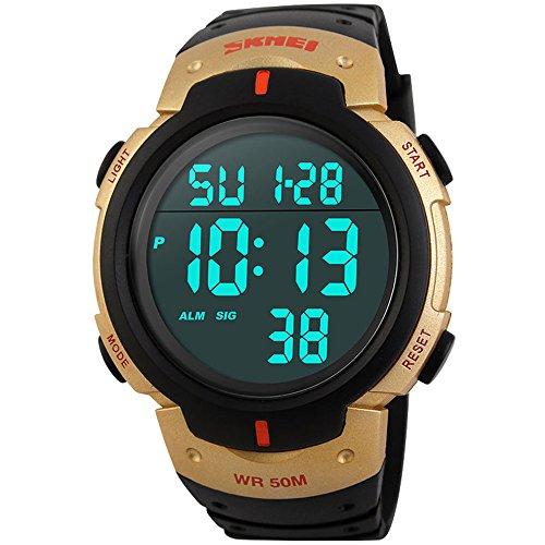 tamlee Herren Digital LED Armbanduhr Wasserdicht Big Bildschirm Gummi Militaer Sport Armbanduhr Gold
