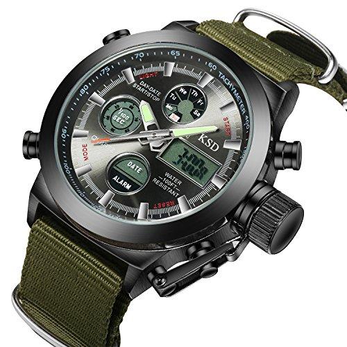 Herren Quarz Analog Digital Military Armbanduhr Leinwand stoffhaltebaender LED Sport Uhren schwarz Fall