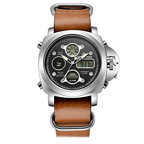 tamlee Luxus Dual Display Herren Wasserdicht LED Digital Quarz Analog Militaer Armee Sportuhr Braun
