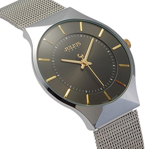tamlee Fashion Mesh Edelstahl Stilvolle Ultra Thin Quarzuhr Elegante Armbanduhr schwarz