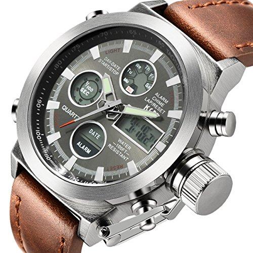 tamlee Fashion Herren Digital Analog Sport Armbanduhr mit PU Lederband EL Hintergrundbeleuchtung Silber