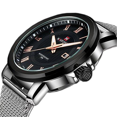 tamlee Fashion Herren Quarz Uhren Edelstahl Armband Wasserdicht runden Zifferblatt Silber Schwarz