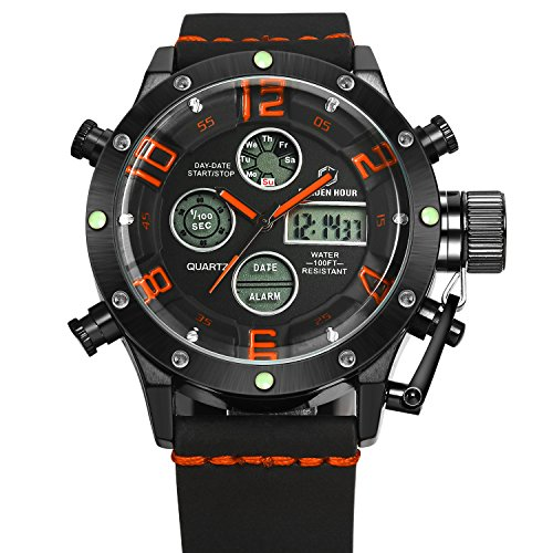 tamlee Army Military Sport Herren tm 106 Analog Digital Chronograph Schwarz Orange