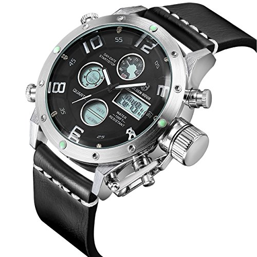 tamlee PU Dual Time Multifunktions Digital Analog Sport Armbanduhr 3bar Wasserdicht im Militaer Stil Silber Weiss