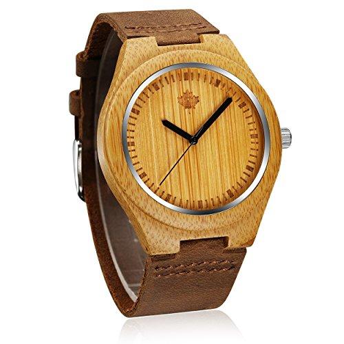 tamlee Herren Bambus Armbanduhr Japan Bewegung Quarz mit Band aus echtem Leder Uhren Creative Geschenke