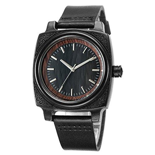 tamlee Unisex Holz Armbanduhr mit Gurt aus echtem Leder Quarz Analog mit Hochwertiges Miyota Uhrwerk Schwarz