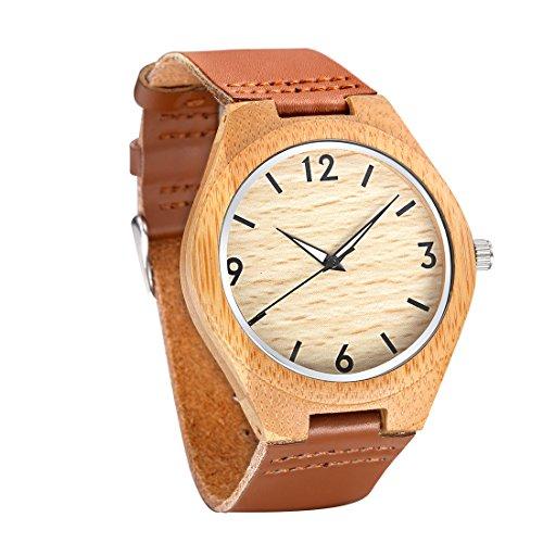 tamlee Casual Holz Uhren fuer Maenner mit echtem Leder Lumination Haende