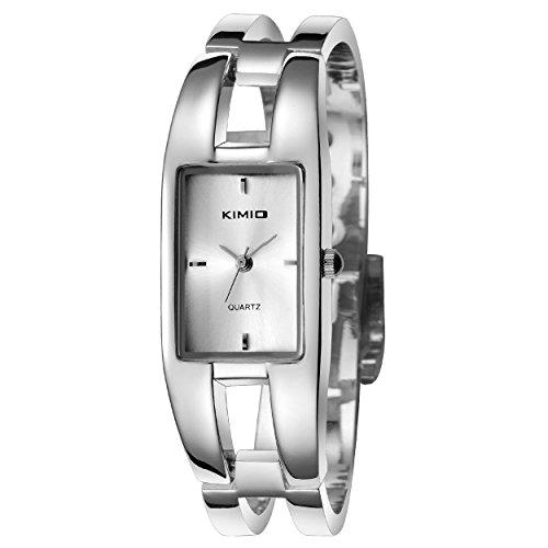 tamlee Fashion Armband Rechteck Silber Quarz Lady Uhren Weiss Face