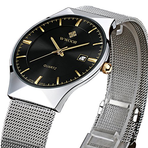tamlee Fashion Casual Marke Quarz Datum Mesh Steel Band Ultra Thin Zifferblatt Uhr schwarz