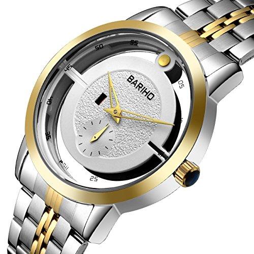 tamlee Fashion Casual Uhren Herren Stahl Quarz Analog Kleid Armbanduhr Ultra Duenn Hohl Zifferblatt Armbanduhr