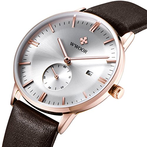 tamlee Fashion Marke Small Hand funktioniert Datum Echt Leder Business Herren Quarz Rose Gold