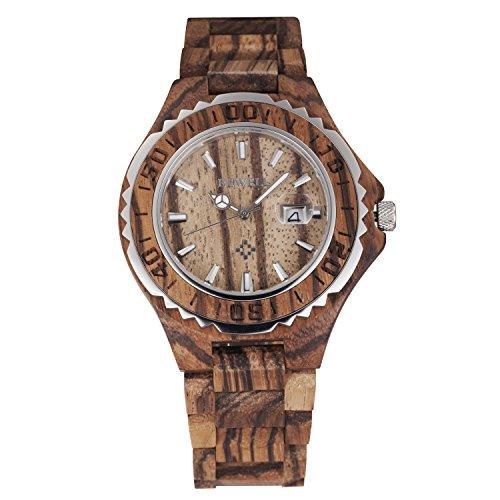 tamlee Fashion Herren Quarz Analog Holz Armbanduhr mit Datum und hellen Hand 30 m Wasser Widerstand
