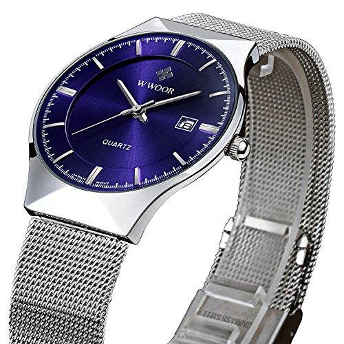 tamlee Fashion Top Luxus Marke Herren Datum Quarzuhr Stahl Mesh Riemen Ultra Duenn Zifferblatt Uhr blau