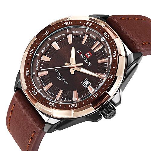 tamlee Fashion Herren Sport Uhren braun echtes Leder Analog Quarz Kalender Military Armbanduhr