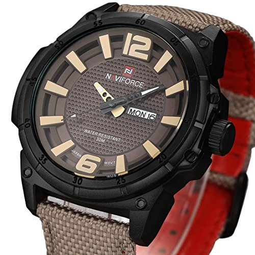 tamlee Luxus Herren Analog Quarz Militaer Sport Armbanduhr Datum Tag Leder Leinwand Gurt Uhr Grau