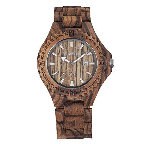 tamlee Herren Zebra Holz Uhren mit woodface Analog Japan Quarzwerk 30 m Wasser Widerstand