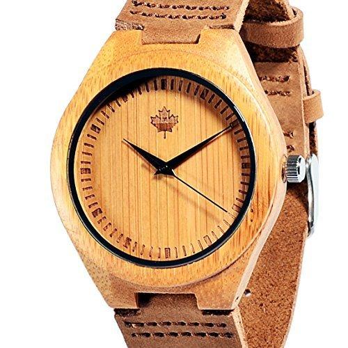 tamlee Bambus Holz Uhr mit Kuh Lederimitat Armband Unisex Analog