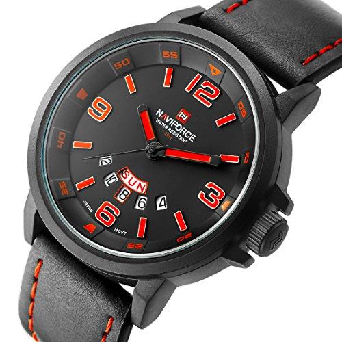 tamlee Luxus Marke Herren Quarz Analog Datum und Tag Leder 3bar Wasserdicht Sport Uhren