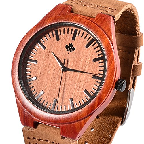 tamlee rot Sandelholz Holz mit weichem Echtleder Red Line Gurt Holz Armbanduhr