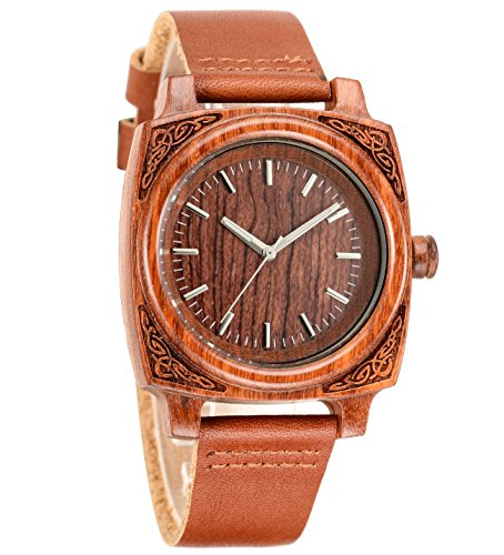 tamlee Unisex Holz Armbanduhr mit Gurt aus echtem Leder Quarz Analog mit Qualitaet Miyota Bewegung Rot