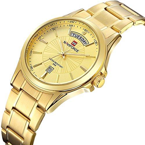 tamlee Herren Vergoldet Quarz Analog Wasserdicht Edelstahl Armbanduhr mit klassischem Design Kalender