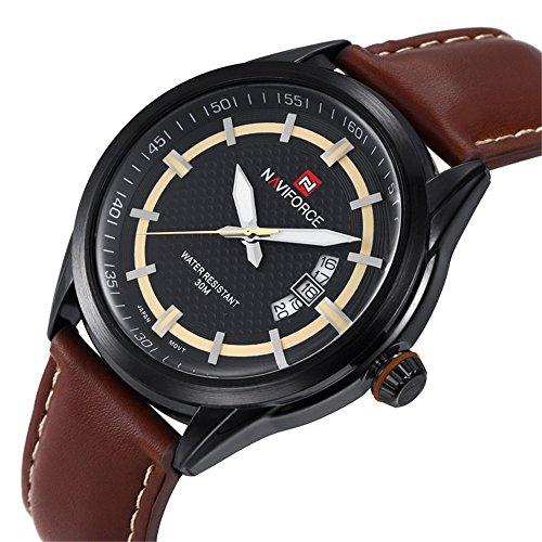 tamlee Herren Vintage braun Analog Japanisches Quarz Uhrwerk Zifferblatt echtes Lederband Uhren