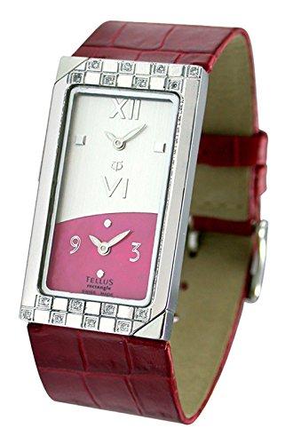 Tellus Rectangle Silber aus Edelstahl Armband Rot aus Kalbsleder in Schweiz hergestellt T1073DI 002