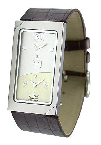 Tellus Rectangle Silber aus Edelstahl Armband Braun aus Kalbsleder in Schweiz hergestellt T1073SS 005