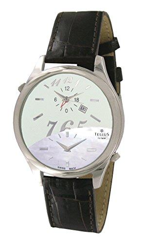 Tellus Trium Weiss und Perlmutter Ziffernblatt Armband Braun aus Alligator in Schweiz hergestellt T1061L 006