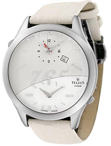 Tellus Trium Weiss silber Perlmutter Ziffernblatt Armband weiss aus Alligator in Schweiz hergestellt T1061L 004A
