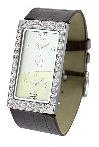 Tellus Rectangle weiss und elfenbein perlmutter Ziffernblatt Armband Braun aus Kalbsleder in Schweiz hergestellt T1073DI 205