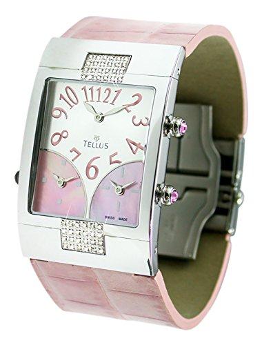 Tellus Trois quartiers Weiss und rosa perlmutter Ziffernblatt Armband Rosa aus Alligator in Schweiz hergestellt T1074DI 005
