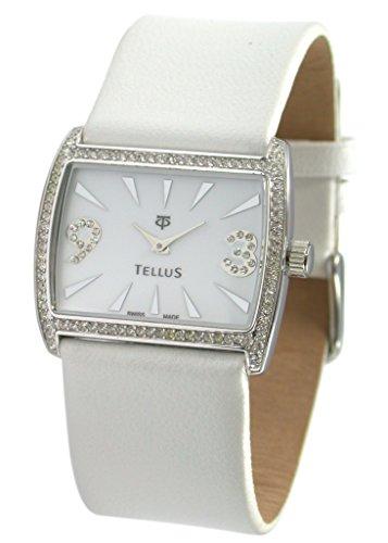 Tellus Vintage weiss Ziffernblatt Armband weiss aus Kalbsleder in Schweiz hergestellt T5066DI 006