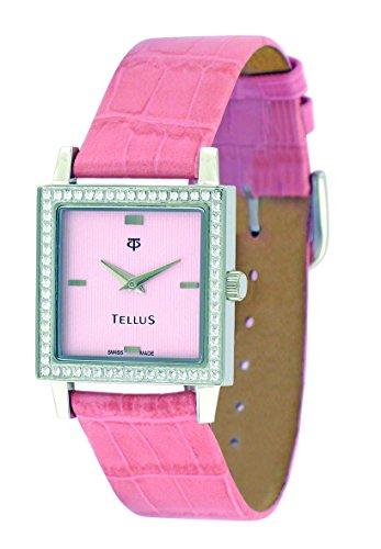 Tellus Vintage silber Ziffernblatt Armband Rosa aus Kalbsleder in Schweiz hergestellt T5067DI 102