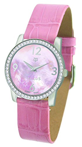 Tellus Vintage Rosa perlmutter Ziffernblatt Armband Rosa aus Kalbsleder in Schweiz hergestellt T5068DI 011