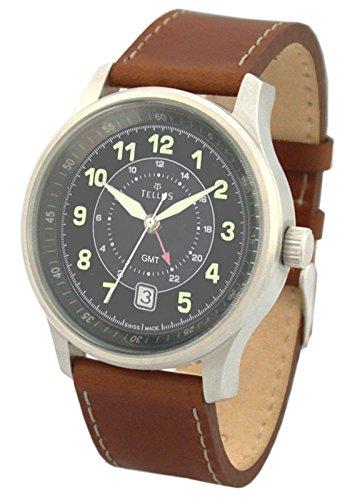 Tellus GMT schwarz Ziffernblatt Armband Braun aus Kalbsleder in Schweiz hergestellt T2055 003
