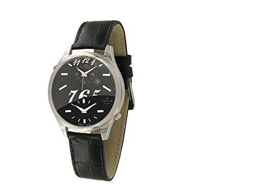 Tellus Trium Mattschwarz und schwarz perlmutter Ziffernblatt Armband schwarz aus Alligator in Schweiz hergestellt T1061L 005A
