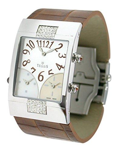 Tellus Trois quartiers Silber aus Edelstahl Armband Braun aus Alligator in Schweiz hergestellt T1074DI 001