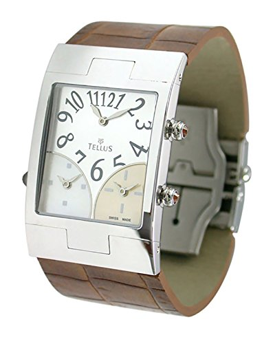 Tellus Trois quartiers Silber aus Edelstahl Armband Braun aus Alligator in Schweiz hergestellt T1074SS 001