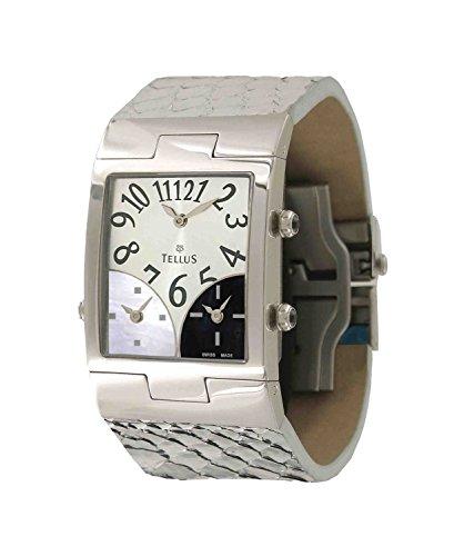 Tellus Trois quartiers Silber aus Edelstahl Armband schwarz aus Alligator in Schweiz hergestellt T1074SS 003