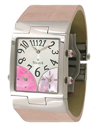 Tellus Trois quartiers Silber aus Edelstahl Armband Rosa aus Alligator in Schweiz hergestellt T1074SS 005