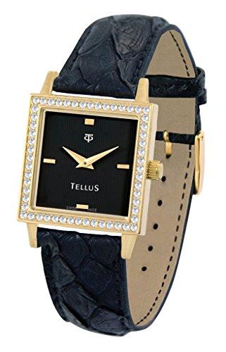Tellus Vintage schwarz Ziffernblatt Armband schwarz aus Echtes Pythonleder in Schweiz hergestellt T5067DI 104