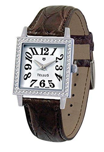 Tellus Vintage weiss Ziffernblatt Armband Braun aus Echtes Pythonleder in Schweiz hergestellt T5067DI 105