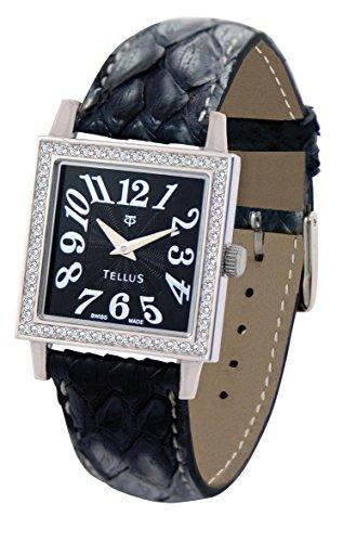 Tellus Vintage schwarz Ziffernblatt Armband schwarz aus Echtes Pythonleder in Schweiz hergestellt T5067DI 106